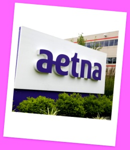 A logo sign outside of a facility occupied by Aetna Inc. in Blue Bell, Pennsylvania.
